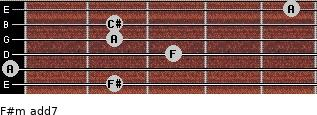 F#m(add7) for guitar on frets 2, 0, 3, 2, 2, 5