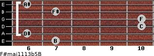 F#maj11/13b5/B for guitar on frets 7, 6, 10, 10, 7, 6