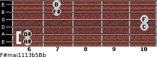 F#maj11/13b5/Bb for guitar on frets 6, 6, 10, 10, 7, 7