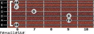 F#maj11#5/A# for guitar on frets 6, 9, 9, 7, 6, 6