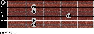F#min7/11 for guitar on frets 2, 2, 4, 2, 2, 0