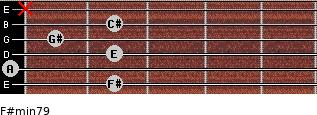 F#min7/9 for guitar on frets 2, 0, 2, 1, 2, x