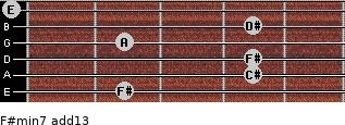 F#min7(add13) for guitar on frets 2, 4, 4, 2, 4, 0