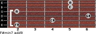 F#min7(add9) for guitar on frets 2, 4, 6, 2, 5, 5