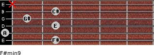 F#min9 for guitar on frets 2, 0, 2, 1, 2, x