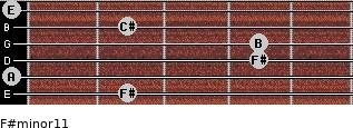F#minor11 for guitar on frets 2, 0, 4, 4, 2, 0