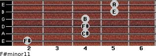 F#minor11 for guitar on frets 2, 4, 4, 4, 5, 5