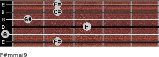 F#m(maj9) for guitar on frets 2, 0, 3, 1, 2, 2
