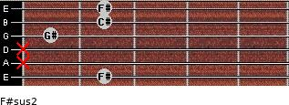 F#sus2 for guitar on frets 2, x, x, 1, 2, 2