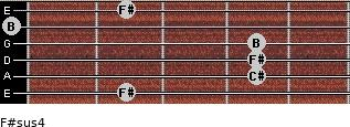 F#sus4 for guitar on frets 2, 4, 4, 4, 0, 2