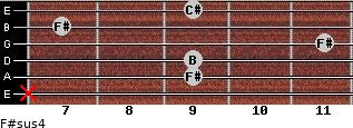 F#sus4 for guitar on frets x, 9, 9, 11, 7, 9
