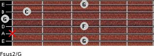 Fsus2/G for guitar on frets 3, x, 3, 0, 1, 3