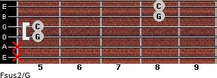 Fsus2/G for guitar on frets x, x, 5, 5, 8, 8