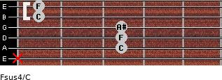 Fsus4/C for guitar on frets x, 3, 3, 3, 1, 1