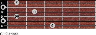 G+9 for guitar on frets 3, 0, 1, 2, 0, 1