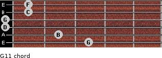 G11 for guitar on frets 3, 2, 0, 0, 1, 1