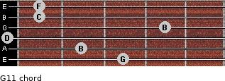 G11 for guitar on frets 3, 2, 0, 4, 1, 1