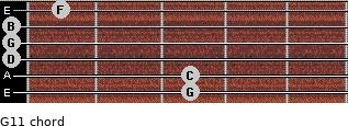 G11 for guitar on frets 3, 3, 0, 0, 0, 1