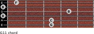 G11 for guitar on frets 3, 3, 0, 4, 0, 1