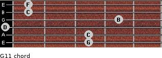 G11 for guitar on frets 3, 3, 0, 4, 1, 1
