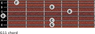G11 for guitar on frets 3, 3, 0, 4, 3, 1