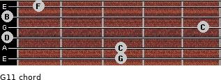 G11 for guitar on frets 3, 3, 0, 5, 0, 1