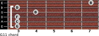 G11 for guitar on frets 3, 3, 3, 4, 3, 7