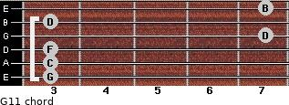 G11 for guitar on frets 3, 3, 3, 7, 3, 7