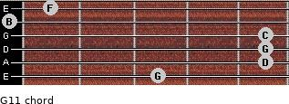 G11 for guitar on frets 3, 5, 5, 5, 0, 1
