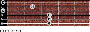 G11/13b5sus for guitar on frets 3, 3, 3, 0, 2, 0