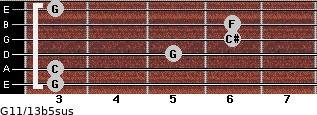 G11/13b5sus for guitar on frets 3, 3, 5, 6, 6, 3