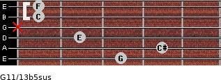 G11/13b5sus for guitar on frets 3, 4, 2, x, 1, 1