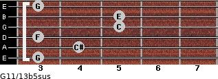 G11/13b5sus for guitar on frets 3, 4, 3, 5, 5, 3