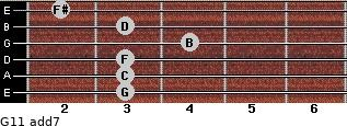 G11 add(7) for guitar on frets 3, 3, 3, 4, 3, 2