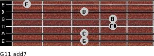 G11 add(7) for guitar on frets 3, 3, 4, 4, 3, 1