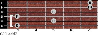 G11 add(7) for guitar on frets 3, 5, 3, 5, 7, 7