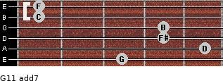 G11 add(7) for guitar on frets 3, 5, 4, 4, 1, 1