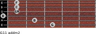 G11 add(m2) for guitar on frets 3, 2, 0, 1, 1, 1
