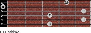 G11 add(m2) for guitar on frets 3, 5, 3, 5, 0, 4