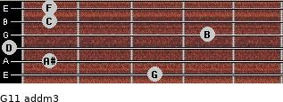 G11 add(m3) for guitar on frets 3, 1, 0, 4, 1, 1
