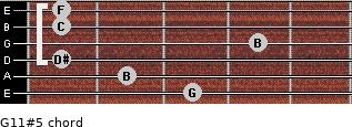 G11#5 for guitar on frets 3, 2, 1, 4, 1, 1