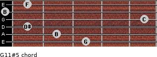G11#5 for guitar on frets 3, 2, 1, 5, 0, 1