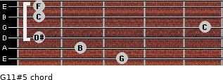 G11#5 for guitar on frets 3, 2, 1, 5, 1, 1