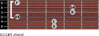 G11#5 for guitar on frets 3, 3, 1, 4, 4, 1