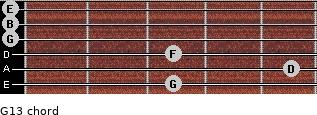 G13 for guitar on frets 3, 5, 3, 0, 0, 0