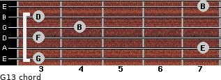 G13 for guitar on frets 3, 7, 3, 4, 3, 7