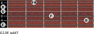 G13/E add(7) for guitar on frets 0, 5, 3, 0, 0, 2