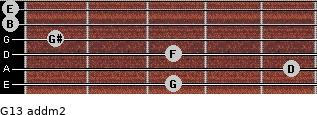 G13 add(m2) for guitar on frets 3, 5, 3, 1, 0, 0
