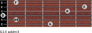 G13 add(m3) for guitar on frets 3, 1, 0, 4, 5, 1