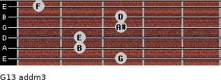 G13 add(m3) for guitar on frets 3, 2, 2, 3, 3, 1